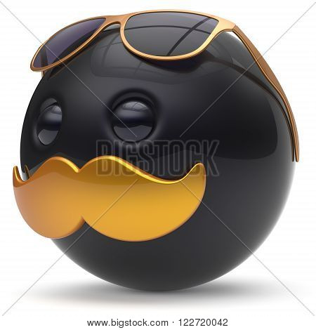 Smiley mustache face black golden emoticon ball happy joyful handsome cartoon person sunglasses caricature. Cheerful eyeglasses laughing fun sphere positive character avatar. 3D render