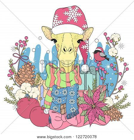 Christmas Giraffe Coloring Page
