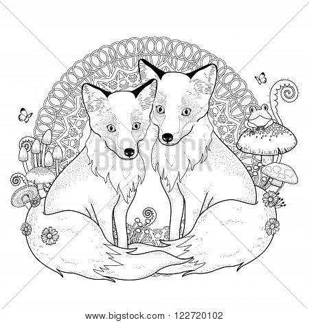 Snow Fox Coloring Page