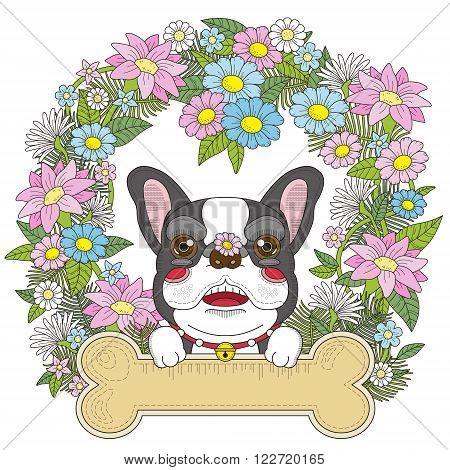 Adorable Bulldog Coloring Page