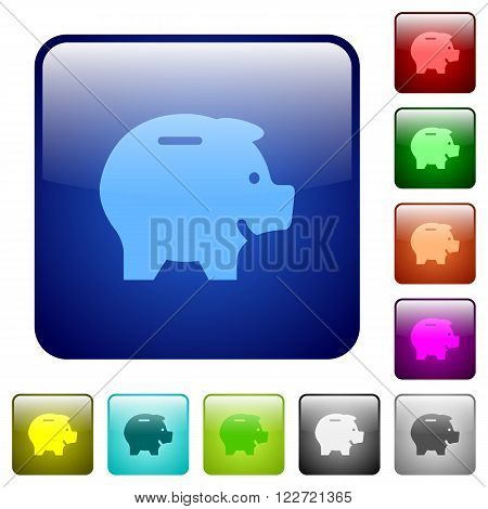 Set of color piggy bank glass sphere buttons with shadows.