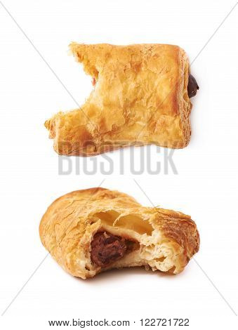 Bitten pastry bun with sausage isolated over the white background, set of two different foreshortenings