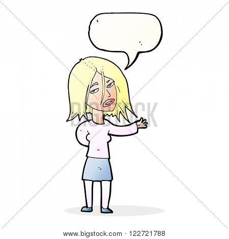 cartoon unhappy woman with speech bubble
