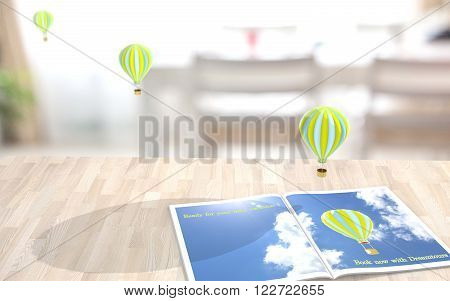 Desk with a magazine showing a vacation advertisement and small balloons flying into the room augmented reality concept render