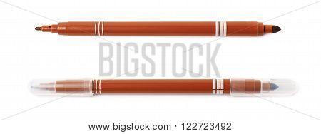 Felt-tip brown pen marker isolated over the white background