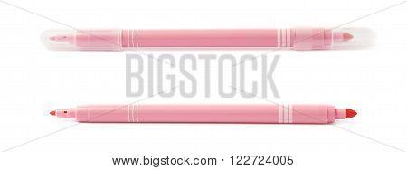 Felt-tip rose pink pen marker isolated over the white background
