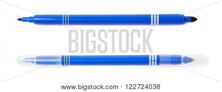 Felt-tip blue pen marker isolated over the white background