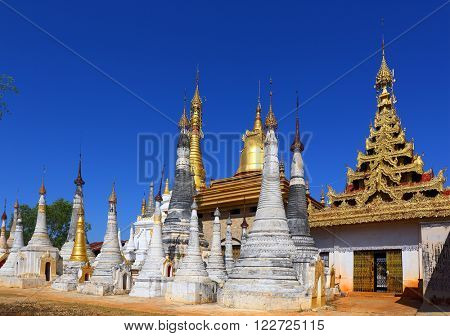 Shwe Inn Thein Paya temple complex near Inle Lake in central Myanmar (Burma)