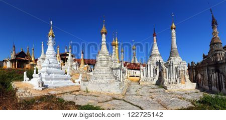 Panorama of Shwe Inn Thein Paya temple complex near Inle Lake in central Myanmar (Burma)