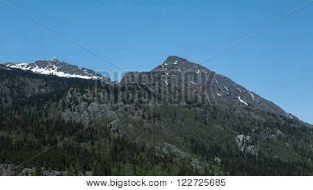 View of forested mountain peaks near Skagway, Alaska