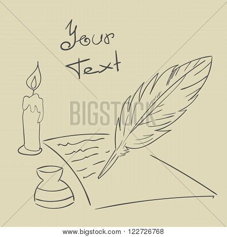 Feather candle paper Vintage background Hand drawn vector eps 10