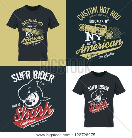 Vintage American hot rod old grunge effect tee print vector design illustration. Premium quality superior shark retro logo concept. NY car shabby t-shirt emblem.