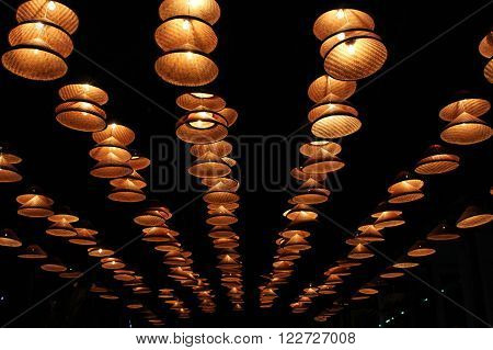 lanterns made of bamboo hat very beautifully lit passageways