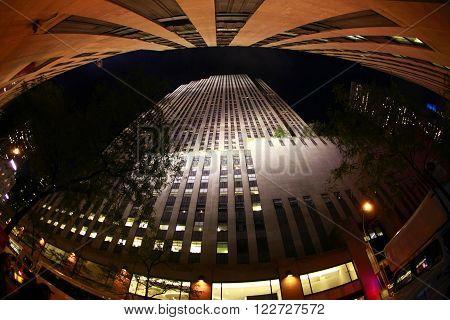 NEW YORK CITY, NY, USA - OCTOBER 11, 2012: Rockefeller Center at night in New York