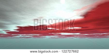 view of the sky with white and red clouds. Without ground