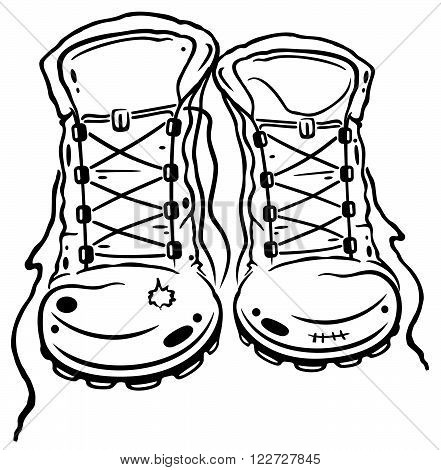 For lovers of hiking: hiking boots, vector design.