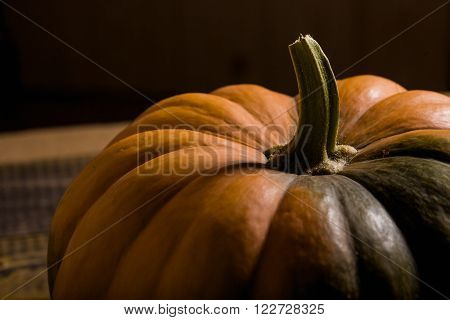Closeup photo of top part of big raw orange segmented cucurbita with peduncle smooth solid peel and green formless spot horizontal picture