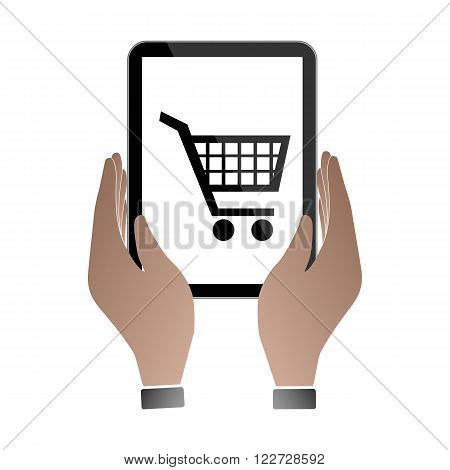 Hands hold and touch tablet PC on vhite background, vector illustration