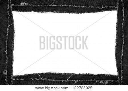 Black torn jeans picture frame with copy space