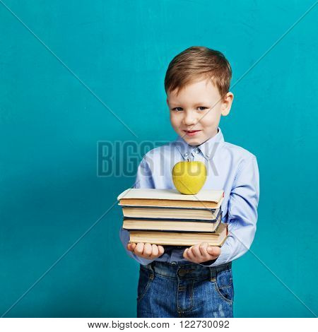 Book, School, Kid. Little Student Holding Books. Cheerful Smiling Little Kid Against Chalkboard.