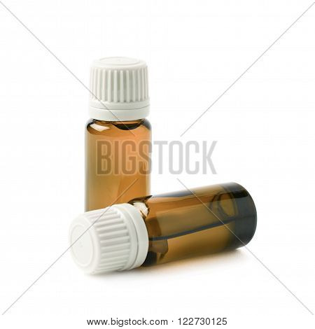Two small brown glass flask vials, composition isolated over the white