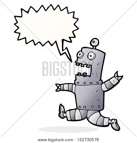 cartoon terrified robot with speech bubble