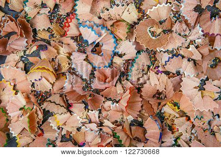 Background Of Multicolor Pencil Shavings.
