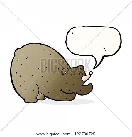 cartoon stretching bear with speech bubble