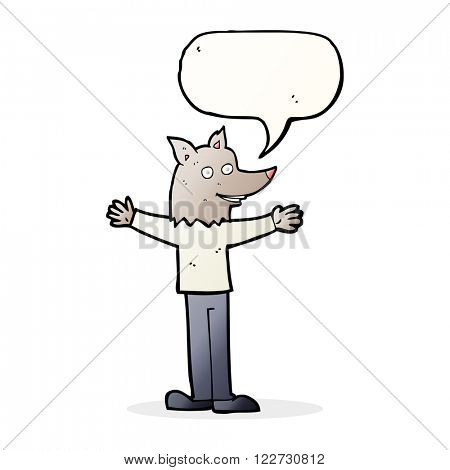 cartoon werewolf with speech bubble