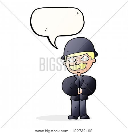 cartoon man in bowler hat with speech bubble