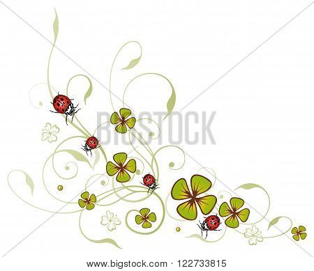 Filigree clover tendril, Silvester decoration with ladybugs.