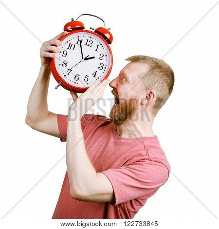 Resents a bearded man wants to eat red alarm clock