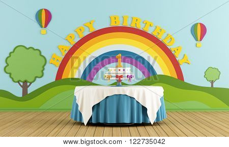 First birthday party, with round table and colorful cake - 3D Rendering