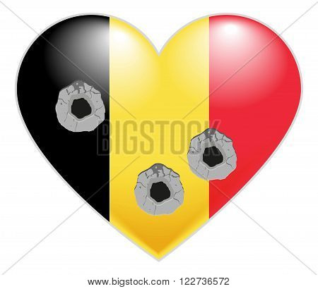 Flag of Belgium. Belgian Heart pierced by bullets. Bullet holes in heart of Belgium. Isolated on white vector illustration