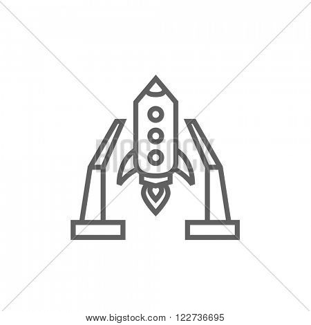 Space shuttle on take-off area line icon.