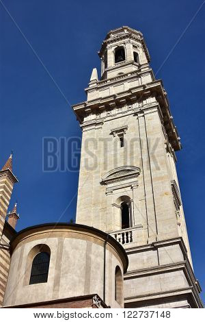 White marble Verona Cathedral (Duomo) belfry designed by italian renaissance architect Sanmicheli in the 16th century