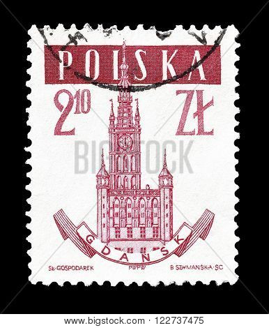 POLAND - CIRCA 1958 : Cancelled postage stamp printed by Poland, that shows City hall in Gdansk.