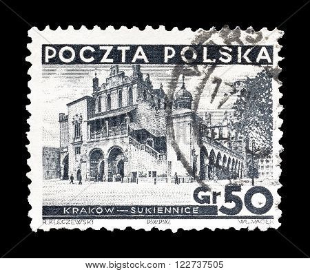 POLAND - CIRCA 1935 : Cancelled postage stamp printed by Poland, that shows Cloth halls in Cracow.