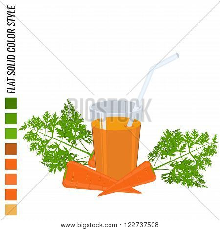 Fresh carrot with glass full of carrot juice flat solid color style realistic leaf healthy food vector icon