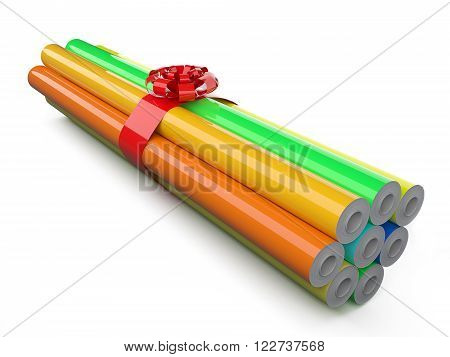Car wrapping film rolls packed in a gift. 3d render
