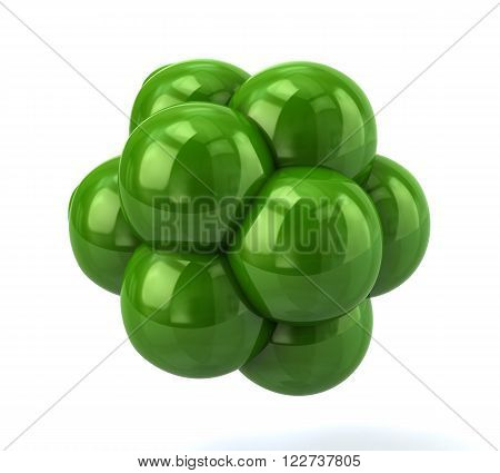 Illustration of green molecule isolated on white background
