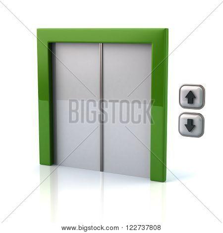 Illustration of green elevator isolated on white background