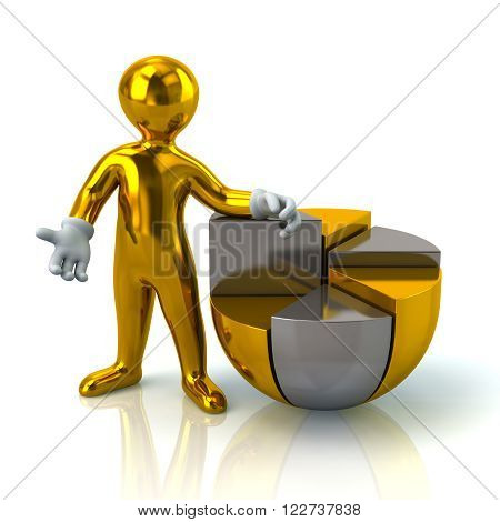 Illustration of golden man and pie chart isolated on white background