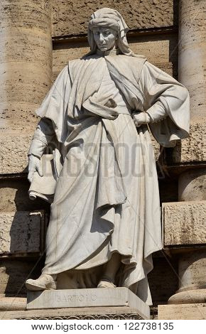 Marble monument of Bartolus de Saxoferrato right in front of the old Palace of Justice in Rome. The most important jurist in the 14th century Europe.