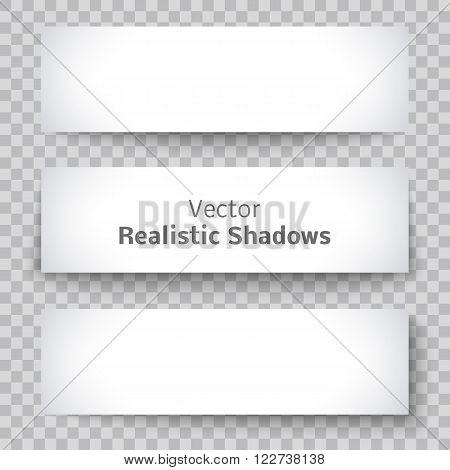 Set of blank banner sheet of paper with shadow material design element for advertising and promotional isolated on transparent background. Vector illustration white horizontal sticker Empty copy space