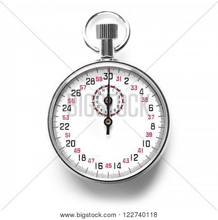 Stopwatch isolated on white, close up