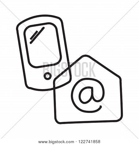 Phone and email. Retrieve e-mail over Internet. Message to phone. phone icon with mail. phone icon with dispatch. Line art. Simple image of phone. Concept of receiving messages on the Internet, web