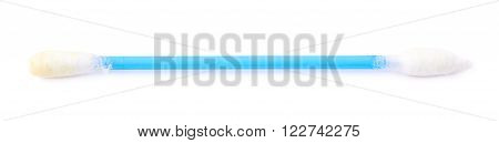 Single used, dirty and covered with the ear wax, blue cotton swab bud isolated over the white background