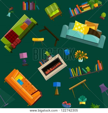 Vector collection of modern flat furniture icon set. Set of furniture design elements. Flat furniture set. Furniture set for living room. Isolated colorful flat furniture icons.