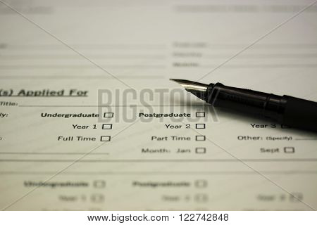 Close Up Of A University Application Form